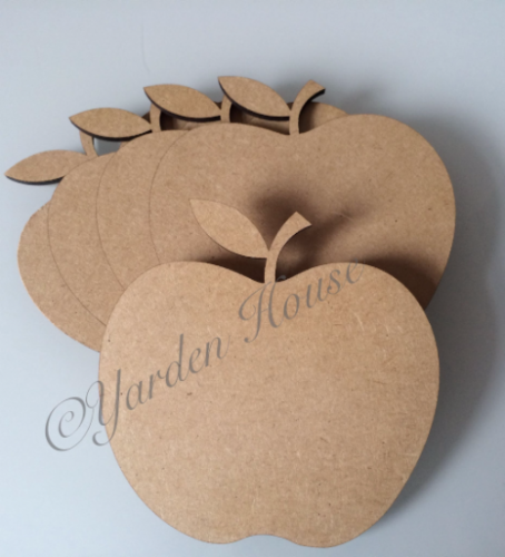 Flat Apple Shape 10cm  (x10 pack) 3MM MDF